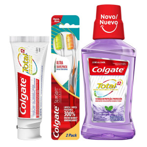 Kit Colgate Creme Dental Total 12 90g+Escova c/2+Enxag 250mL