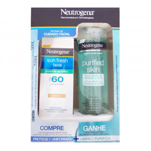 Kit Neutrogena Sun Fresh Control Brilho Cor FPS60+Purified Skin
