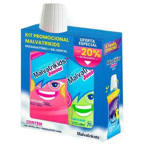 Kit Malvatrikids Jr Enxaguante Bucal T-Frut +Gel Dental 70g