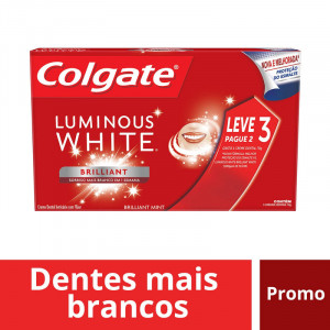 Kit 3x70g Creme Dental Colgate Luminous White Brilliant Mint