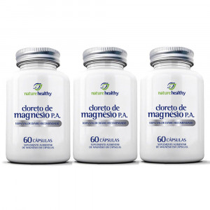Kit 3x60 Cloreto De Magnésio P.A. Nature Healthy (180 Cáps)
