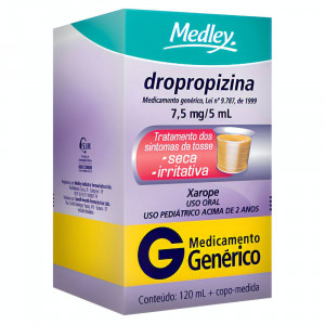 Dropropizina Xarope Adulto 15mg/5mL 120mL Genérico Medley