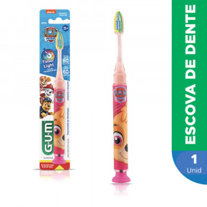 Escova Dental Infantil GUM Patrulha Canina Timer Light Pisca